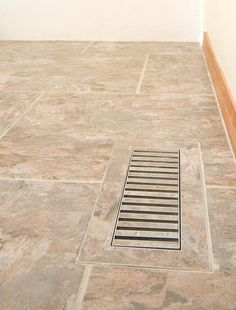chameleonvents.com. a chameleon vent is a custom floor vent designed for use with ceramic tile and stone. a flush register for tile and stone floors Diy Flooring, Stone Flooring, Hardwood Floors, Floor Vent, Tile Floor, Honey Oak Cabinets, Fire Grill, New Countertops, Chameleon