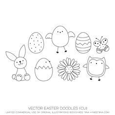 Vector Easter Doodles {CU} - the owl is super cute