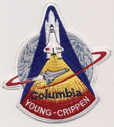 STS-1 mission patch. On April 12, 1981 astronauts John Young (commander) and Bob Crippen (pilot) launched on the first space shuttle mission aboard the orbiter Columbia.