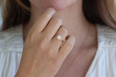 Solitaire Cushion Diamond Engagement Ring 0.8 Carat by artemer