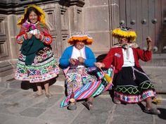 Women spinning Alpaca wool in Cuzco, Peru