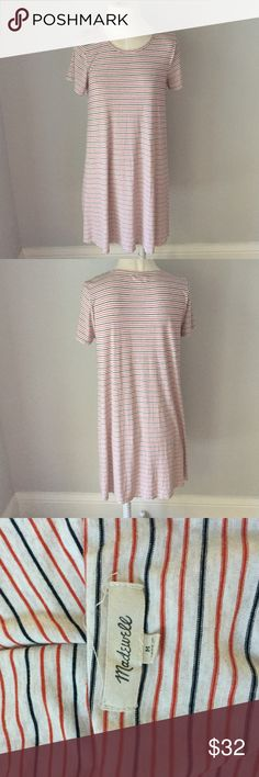 Madewell Swingy Tee Dress in Sacramento Stripe Perfect condition and so comfy. Sold out online! Madewell Dresses Mini