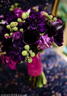 #purple #wedding #bouquet with green raspberries