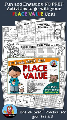 Fun and engaging activities that cover most skills taught in a Place Value unit for First Grade Math. Includes groups of ten, tens and ones, place value activities up to 20, 50, 100, 110 and 120; expanded form, values of digits, place value word problems, comparing numbers, ordering numbers, and many more!!! $