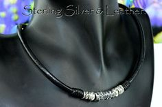 2N-022 Finely Made Solid Sterling Silver & Leather Cord New Choker Men Necklace