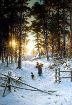 """""""Winter"""" von Joseph Farquharson (geboren am 4. Mai 1846 in Edinburgh, gestorben am 15. April 1935 in Finzean, Aberdeenshire), schottischer Maler."""