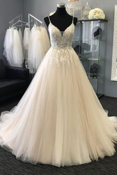 Light champagne v neck tulle lace applique long prom dress, tulle evening dress