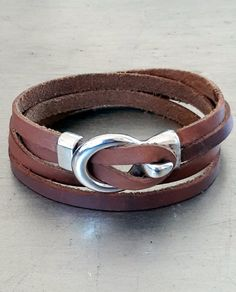 Men's natural leather cuff, Leather wrap with loop hook silver closure, Trendy guys leather cuff , Shipping included by JuKayDesign on Etsy