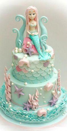 Mermaid Cake by Samantha's Cake Design … Little Mermaid Cakes, Mermaid Birthday Cakes, Themed Birthday Cakes, Birthday Cake Girls, Themed Cakes, 28th Birthday, Birthday Ideas, Crazy Cakes, Fancy Cakes