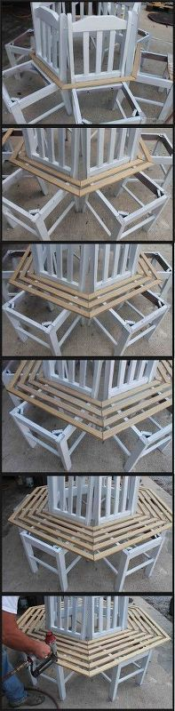 tree bench made from kitchen chairs, diy, outdoor furniture, repurposing…