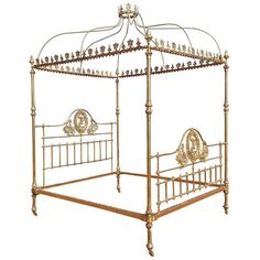 Wide Brass Four Poster Bed with Crown and Canopy, M4P19 | 1stdibs.com