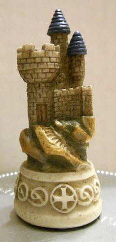 FOR SALE - Camelot Castle Blue Rook King Arthur's Court Chess Set 916 Replacement Piece Excalibur Hand Painted