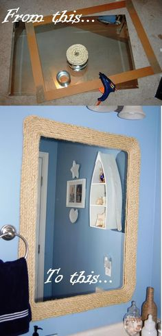 First new house project; Rope Mirror for Nautical Bathroom. Used old mirror, cardboard for border, rope and glue gun. Attached cardboard with liquid nails and hung using 3M velcro strips.