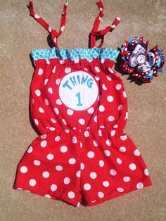 Dr. Suess Cat in the Hat Birthday Outfit Boutique Girls Clothing Romper Thing 1 Boutique Hairbow 0/3m6/9m9/12 12/18m 18/24m 2T 3T 4T 5T. $39.50, via Etsy.