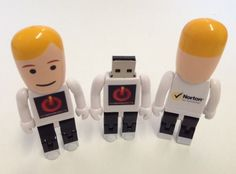 Norton by Symantec USB people - available in custom designs. A fun way to store documents on the go! Find us on facebook at https://www.facebook.com/JNLondon