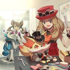 Pokemon People, Pokemon Ships, Pokemon Fan Art, Cute Pokemon, Pokemon Stuff, Kalos Pokemon, Pikachu, Chibi, Pokemon Ash And Serena