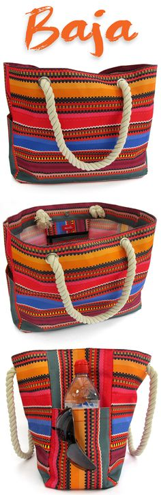 Love the Baja Beach Bag, a waterproof canvas tote and day bag from OdyseaCo. Get the latest boho hippie-chic look this summer here - http://www.amazon.com/Baja-Beach-Waterproof-Canvas-Tote/dp/B01DUFXGTI #beachlife