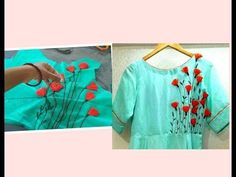 Flower Embroidery Thistle Flowers designing on Kurtis, Churidars - DIY - Hand Embroidery Videos, Hand Embroidery Tutorial, Hand Work Embroidery, Flower Embroidery Designs, Embroidery Suits, Embroidery Techniques, Flower Designs, Embroidery Patterns, Latest Embroidery Designs