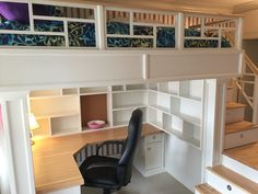 Loft Bed with stairs, shelves and desk