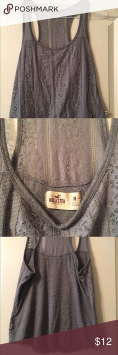 Size M Hollister Shirt Love this shirt ❤️❤️❤️ It is so cool in the summer and very stylish. Hollister Tops Tank Tops