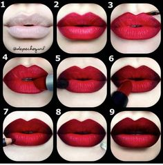 Red Ombre Lips....a twist on the chola lip