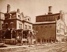 The original Stroh brewery with the Stroh family home in foreground. The photo was taken in 1864.