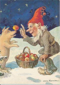 Gnome gives a pig an apple...