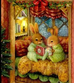 Rabbits Reading Bedtime Story Book ON Christmas EVE Susan Wheeler Greeting Card