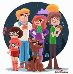 Scooby Doo and those meddling kids! by Erin Hunting Cartoon Tv Shows, Cartoon Movies, Cartoon Characters, Hanna Barbera, Scooby Doo Mystery Incorporated, Walt Disney, Velma Dinkley, Hunting Art, Fanart