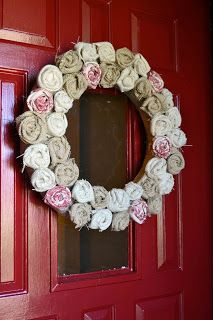 How to make a burlap wreath with burlap fabric flowers (no sew) from Babblings and More