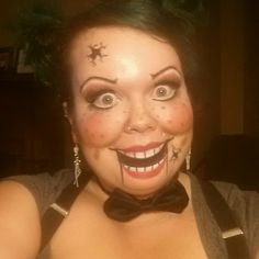 Ventriloquist dummy, puppet, Halloween makeup, costume