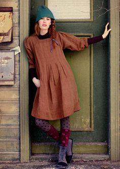 Kariertes Kleid aus Leinen/Baumwolle