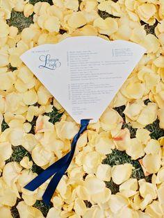 die-cut fan wedding ceremony program with navy blue ribbon at bottom Wedding Program Sign, Unique Wedding Programs, Wedding Ceremony Programs, Wedding Fans, Event Signage, Wedding Signage, Unplugged Wedding, Floral Invitation, Invitations