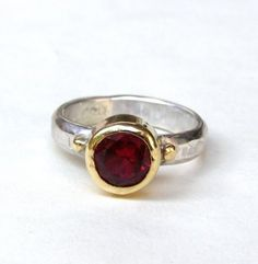 Items similar to Pink zirconia ring gold ring - gold and silver ring made to order on Etsy Pink Topaz Ring, White Topaz Rings, Gold And Silver Rings, 14k Gold Ring, Opal Rings, 925 Silver, Handmade Engagement Rings, Handmade Rings, Ring Engagement
