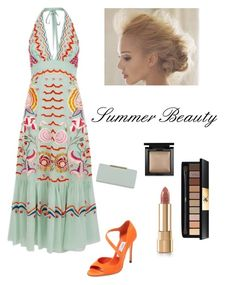 """Summer BEAUTY"" by kotnourka ❤ liked on Polyvore featuring Temperley London, Jimmy Choo, Ted Baker, Bare Escentuals and Yves Saint Laurent"