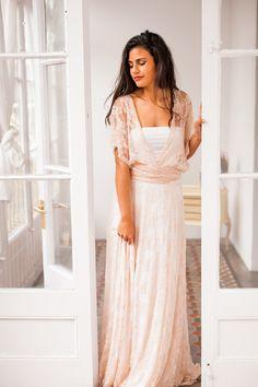 The Bohemian Lace Wedding Dress is our signature dress for the free spirited girl http://mimetikbcn.com/e-shop/wedding/rose-quartz-lace-wedding-dress-gala-bohemian-ivory/