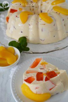 Gelatina duraznos con crema (gelatina mosaico fácil & deliciosa)
