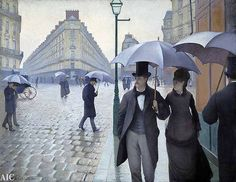 Paris Street; Rainy Day, 1877 by Caillebote. Art Institute of Chicago. Stand in front of this painting and you feel like you are part of the scene.