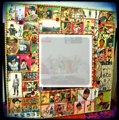retro wall art - Baseball Card Wall Mirror - Vintage baseball - Japanese decor - Decoupage Furniture. $100.00, via Etsy.
