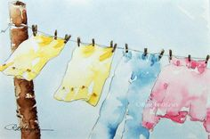 Laundry Day.  A watercolor painting of clothes drying on an old fashioned rope clothesline in the country, by RoseAnn Hayes.  Prints are available in Etsy shop.
