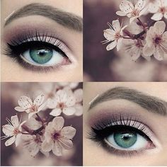 "makeup on Instagram: ""Happy first day of spring!?? I'm going to be... ❤ liked on Polyvore featuring beauty products, makeup, eye makeup, eyeshadow, eyes and prom eye makeup"