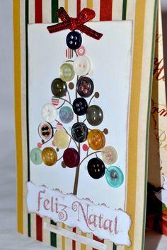 Cartão de Natal árvore de botões. #paperrie #scrap #feitoamão