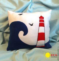 Купить Подушки, морской стиль - синий, красный, белый, море, морская тема, морской стиль