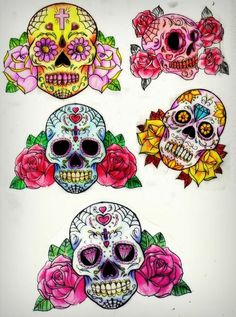 Have always wanted to design a sugar skull tattoo for myself Sugar Skull Painting, Sugar Skull Artwork, Sugar Scull, Skull Crafts, Sugar Skull Design, Sugar Skull Tattoos, Skull Wallpaper, Tattoo Flash Art, Tattoo Art