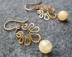Daisy Copper earring- copper wire buterfly with agate - copper jewelry - wire jewelry
