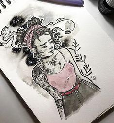 Rockabilly girl #illustration #rockabillygirl #tattooart #tattoogirl #rockabilly #girl #watercolorpainting #inkdrawing #artwork #dorothygranjo Ink Art, Girl Tattoos, Rockabilly, Watercolor Paintings, Illustration, Artwork, Instagram, Work Of Art, Water Colors