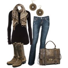 """""""Black & Dusty Brown"""" by caliarch on Polyvore"""