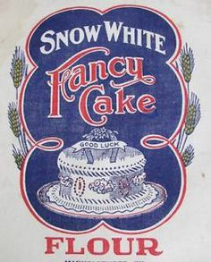 Vintage Unopened Snow White Fancy Cake Flour Sack Feedsack | Vintageblessings