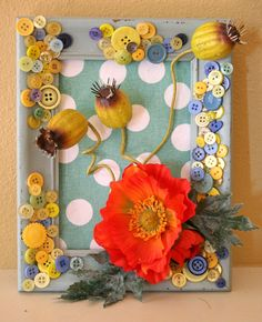 Poppy Flower with Button Frame Dimensional Wall by KelleBDesigns, $25.00