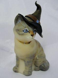 Fenton Sitting Cat Siamese Tabby Witch Halloween Natural OOAK by CC Hardman $200